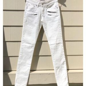 Pierre Balmain White Coated Moto Zip Skinny Jeans